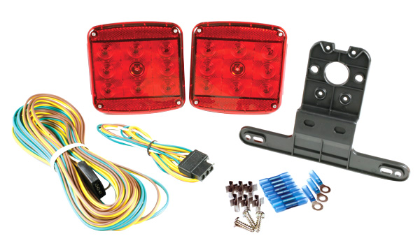 Submersible LED lighting kit for boat trailer