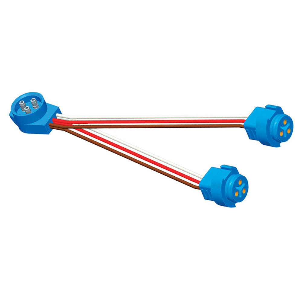 """Anschlussdraht mit 9""""-Y-Adapter für Doppelleuchte, Adapter, Steckerstift, Gerade"""
