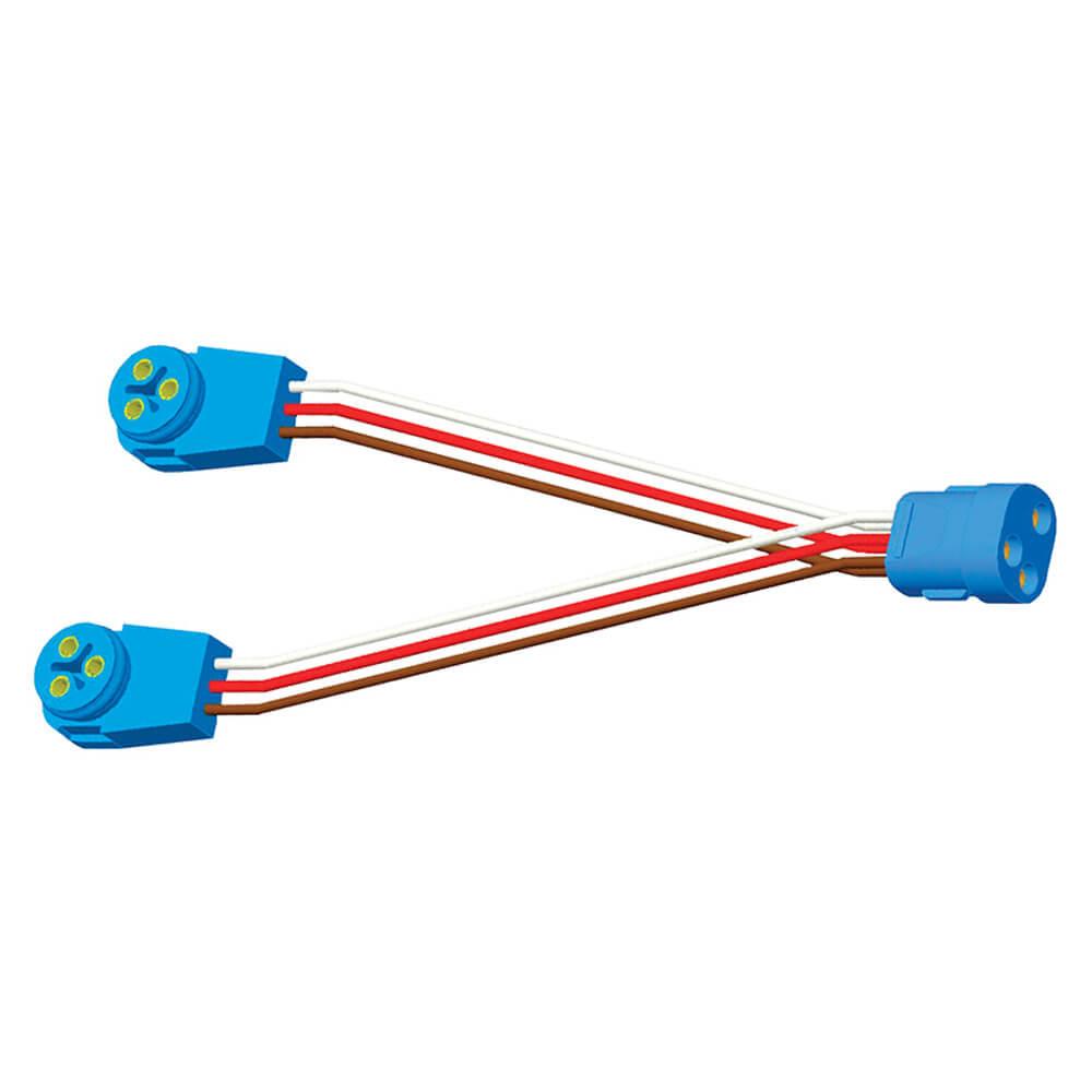 """Anschlussdraht mit 9""""-Y-Adapter für Doppelleuchte, Adapter, Buchse zu Stecker, 90°-Stecker"""
