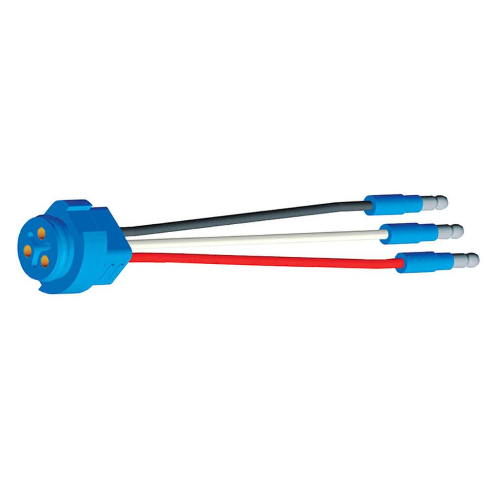 """66815 - Luz de frenado/trasera/direccional con tres cables, conector flexible para luces con clavija macho, 6"""" de largo, retorno de tierra, Macho delgado  .180"""