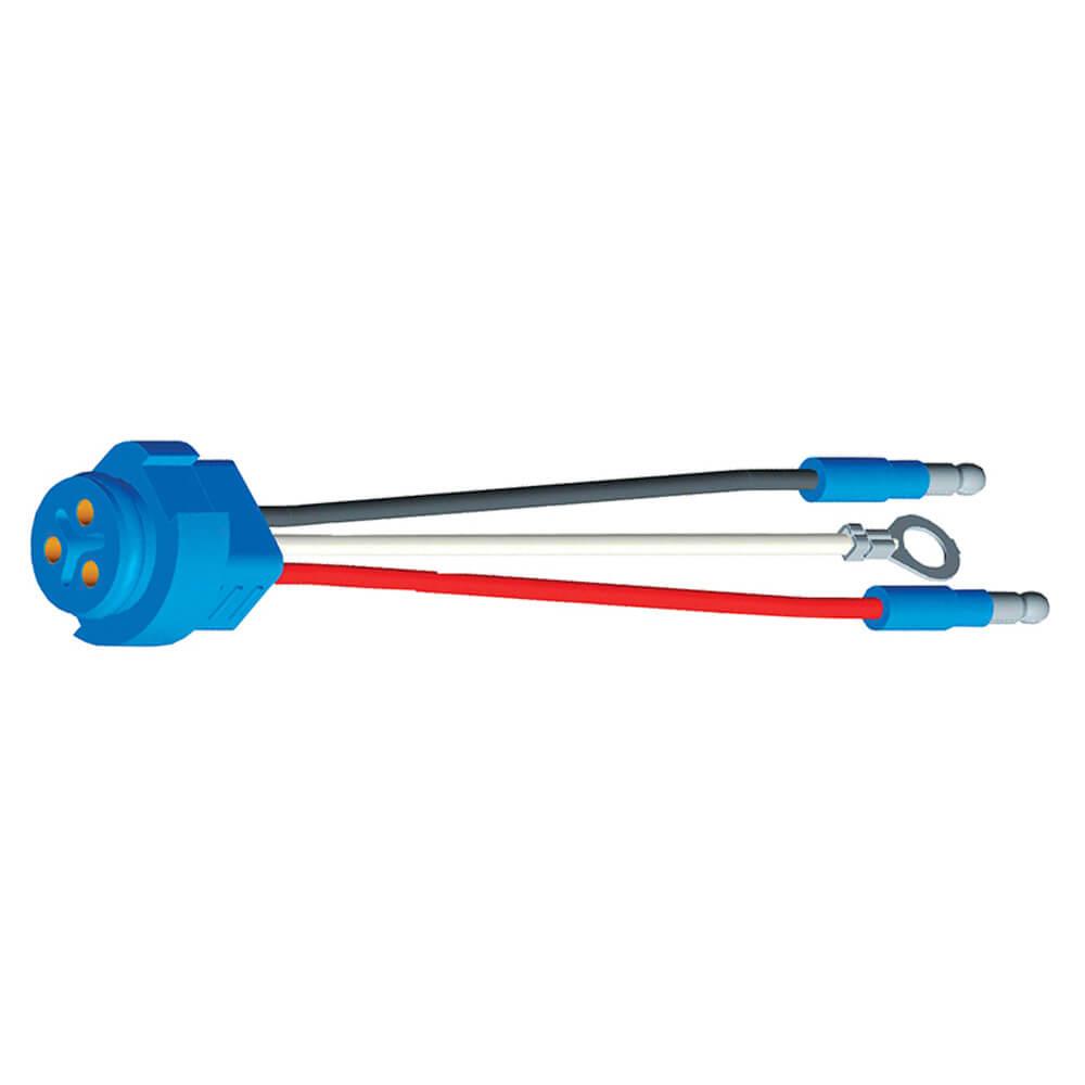 """66841 - Luz de frenado/trasera/direccional con tres cables, conector flexible para luces con clavija macho, 8"""" de largo, Masa del chasis, Macho delgado  .180"""