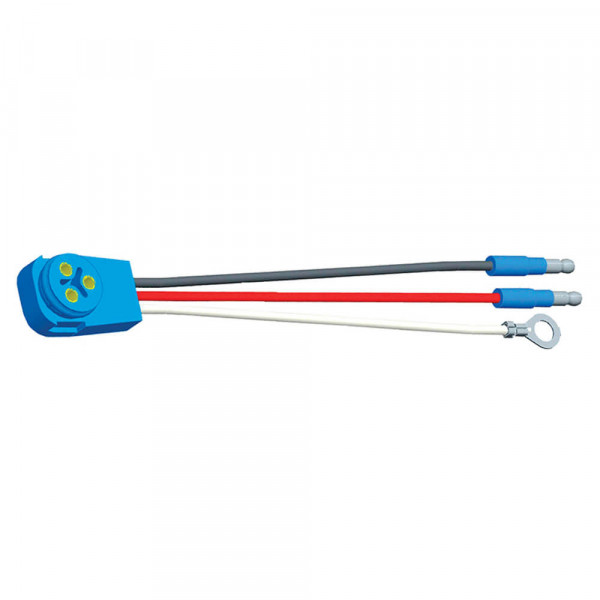 "Stop Tail Turn Three-Wire 90º Plug-In Pigtails for Male Pin Lights, 8"" Long, Chassis Ground, Slim-Line .180 Male"