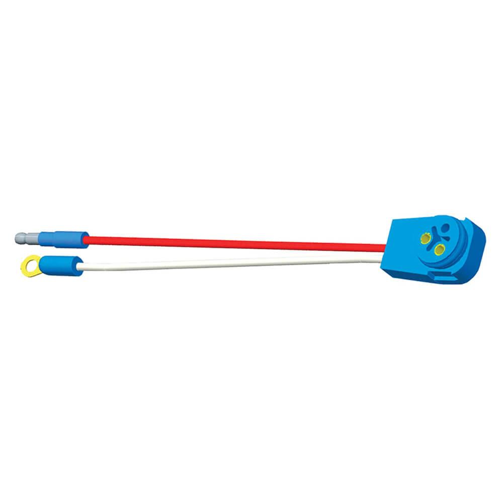 """Luz de frenado/trasera/direccional con dos cables, conector flexible de 90° para lámparas con clavija macho, 10"""" de largo, Masa del chasis, Macho delgado  .180"""