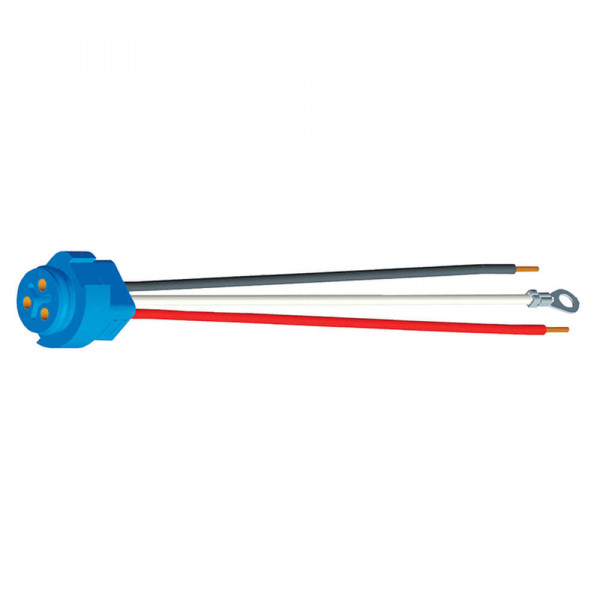 "67002 - Stop Tail Turn Three-Wire Plug-In Pigtails for Male Pin Lights, 11"" Long, Chassis Ground, Blunt Cut Wire"
