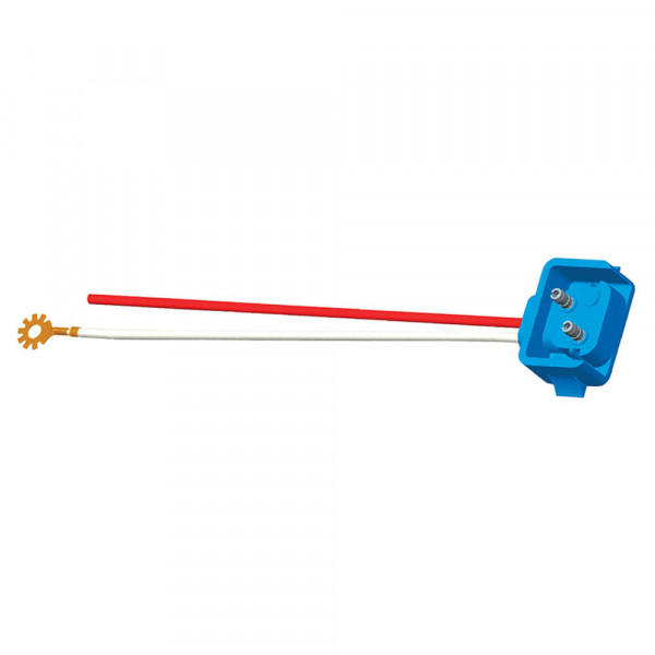 """Two-Wire Plug-In Pigtails for Female Pin Lights, 10"""" Long, Chassis Ground, Blunt Cut, 90° Plug"""