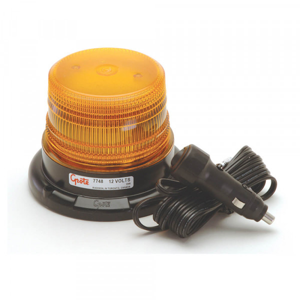 Mighty Mini Amber LED Strobe Light With Cigarette Lighter Adapter.
