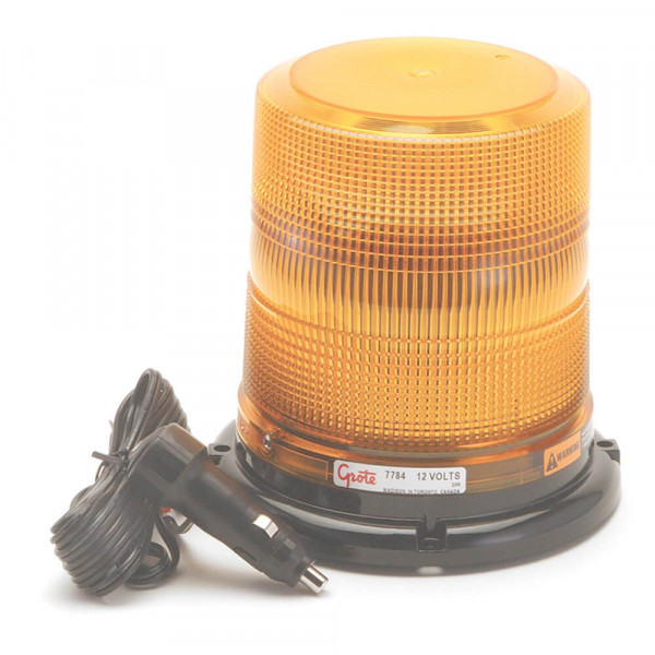 High Profile Class II LED Strobe, Magnet Mount w/ Cigarette Lighter Adapter, Yellow