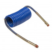 Blue Coiled Air Hose with Brass Handle
