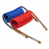 Coiled Air Hose with Brass Handles