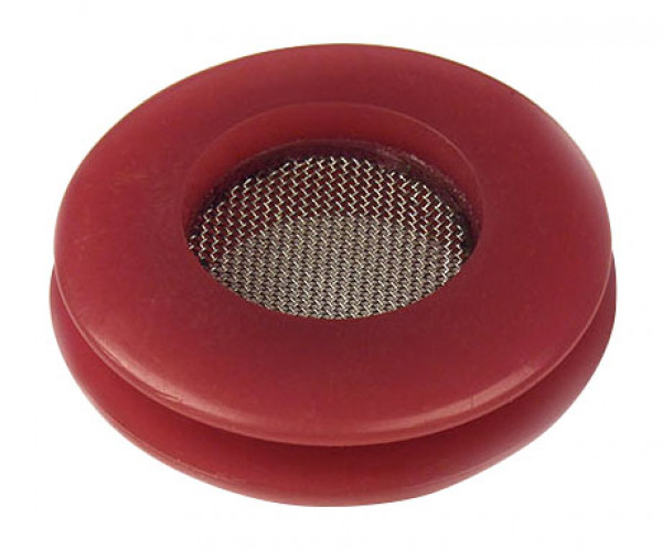 Red polyurethane seal with built in filter screen