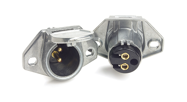 Conectores de enchufes para trabajo pesado, 2 vías, Clavija vertical