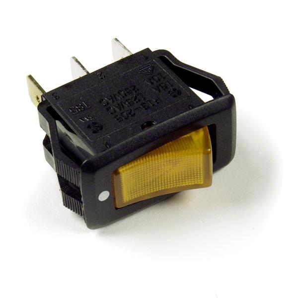Yellow 3 Blade Illuminated Rocker Switch