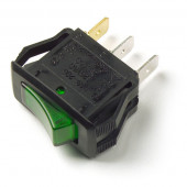 Green 3 Blade Illuminated Rocker Switch