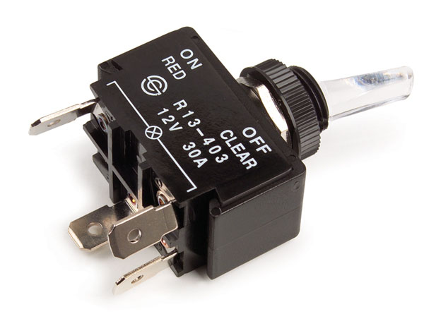 Red Illuminated 30A 4 Blade Toggle Switch