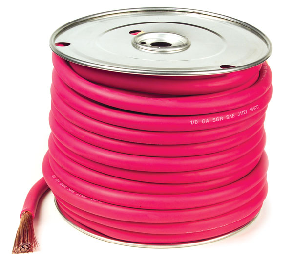 Red 100' Battery 1/0 Gauge Cable