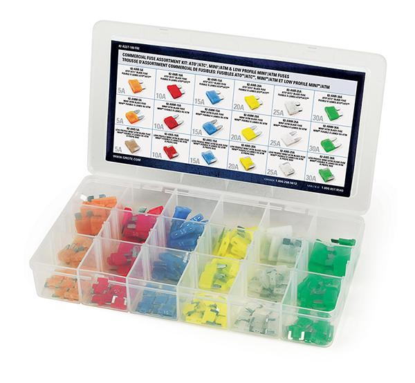 Niedrigprofil-Miniatur, Sortiment an Miniatur- und Standard-Flachsicherungen im Set