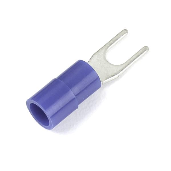 Terminales de horquilla de nylon, Calibre 16 - 14, Varilla roscada tamaño #4 - 6, 50 u.