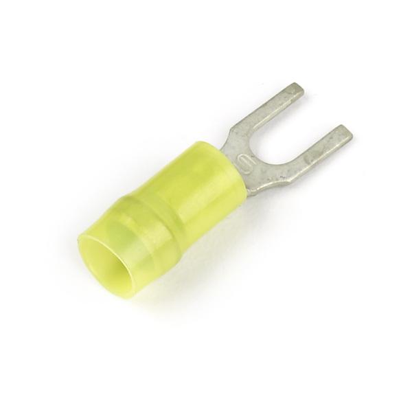 Terminales de horquilla de nylon, Calibre 12 - 10, Varilla roscada tamaño #4 - 6, 50 u.