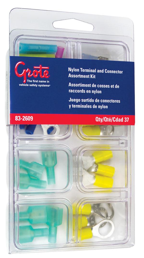 Kit surtido de conectores y terminales de nylon, 37 u.