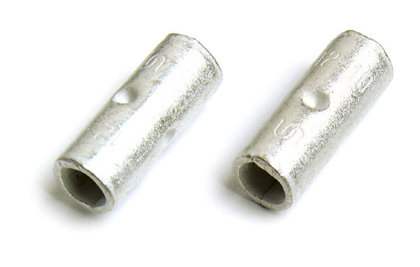 Uninsulated Butt Connectors, Butted Seam, 6 Gauge, 100pk