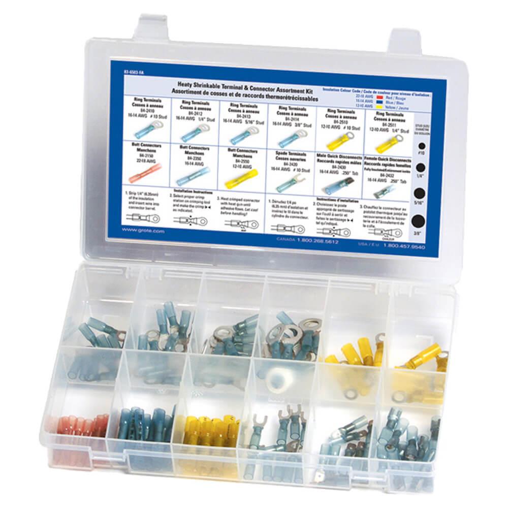 Kit surtido de conectores y terminales termocontraíbles, 120 u.