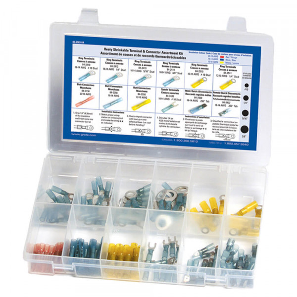 Heat Shrinkable Terminal & Connector Assortment Kit, 120 Pieces