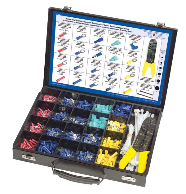Kit surtido de terminales y conectores de vinilo y nylon,650 piezas.