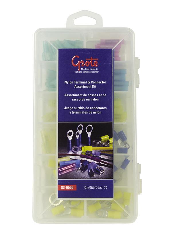Kit surtido de conectores y terminales de nylon, 70 u.