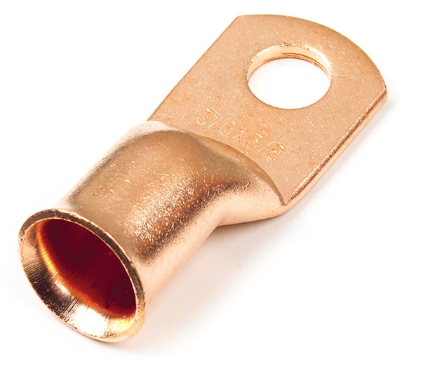 """6 Gauge Copper 1/4"""" Stud Lug Retail Pack"""