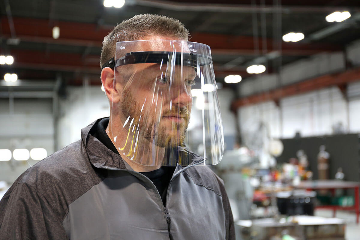 male wearing grote face shield