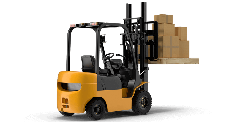forklift with pallet and boxes