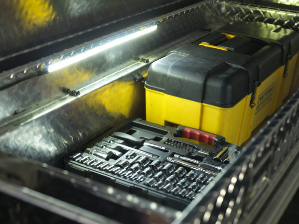 Truck bed lighting kit in toolbox