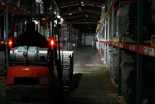 Grote LED lights on a towmotor in a warehouse