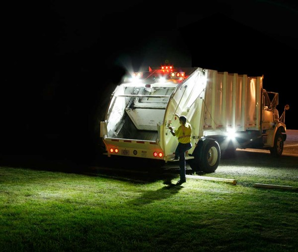 Grote LED Lights on Trash Truck