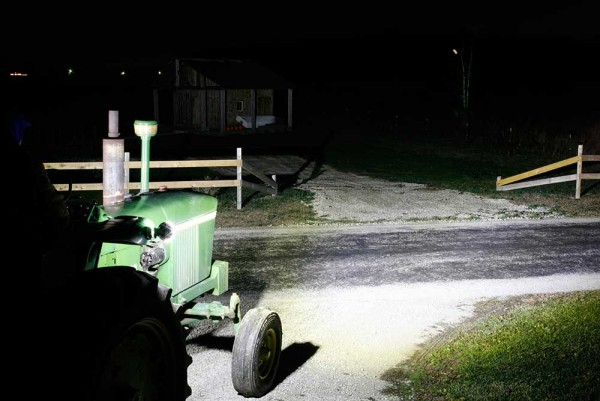 Grote lights on tractor at night