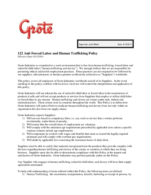Anti-Forced Labor and Human Trafficking Policy