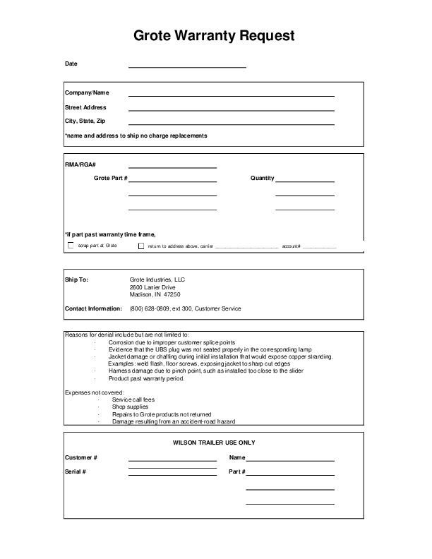 Wilson Warranty Form Suggestion