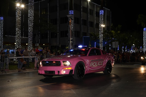Grote mini LED light bar on cop car