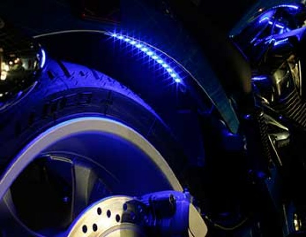 Grote XTL LED light strip on motorcycle