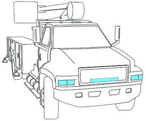 illustration of forward lighting on a work truck
