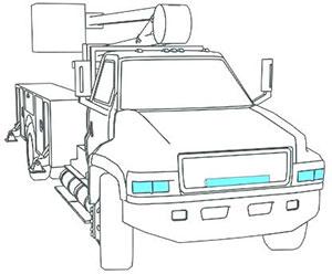 illustration of forward lighting on a work truck