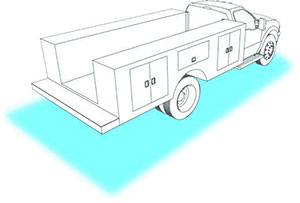 illustration of ground lighting area around a work truck