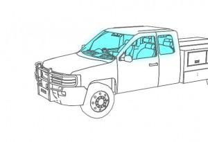 illustration of interior lighting in a work truck