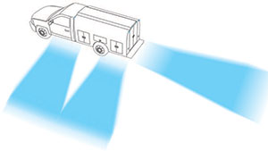 illustration of scene lighting around a work truck