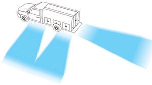 illustration of scene lighting around a work truck