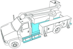 illustration of surface lighting on a work truck