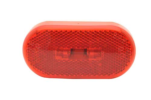 two bulb oval pigtail type clearance marker light reflector red - 360