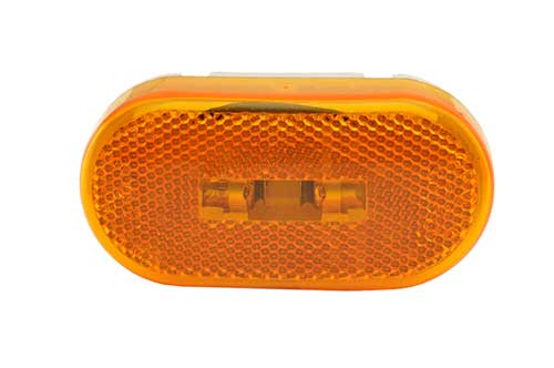 two bulb oval pigtail type clearance marker light reflector amber - 360