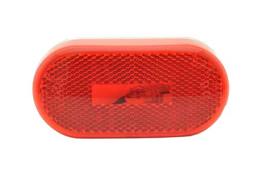 single bulb oval clearance marker light reflector red - 360