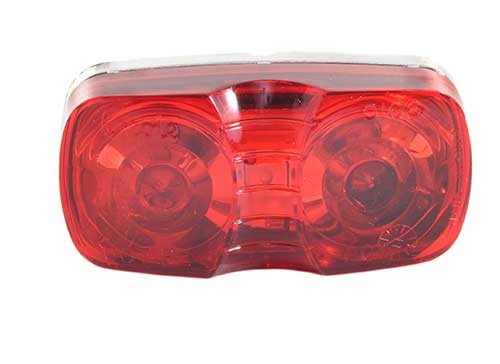 two bulb square corner clearance marker light die cast red - 360